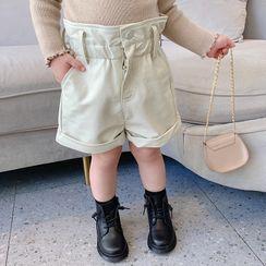 Ruban - Kids Faux Leather High-Waist Shorts