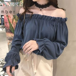 Gwendolyn - Off-Shoulder Ruffle-Trim Blouse