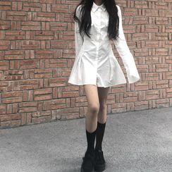 merryberry - Long-Sleeve A-Line Mini Shirtdress