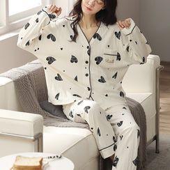 Lion Sniff - 家居服套装: 长袖心心印花衬衫 + 长裤