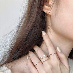 Foreflow - 四件套裝: 仿珍珠 / 合金戒指 (多款設計)