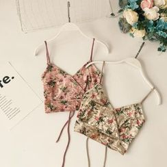 Lucuna - Lace-Up Back Floral Print Cropped Velvet Camisole