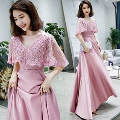 Sennyo - Flutter Sleeve Lace Panel V-Neck A-Line Evening Gown
