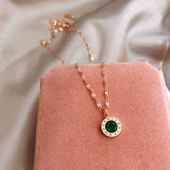 Utsukushi - 饰水钻罗马数字戒指项链