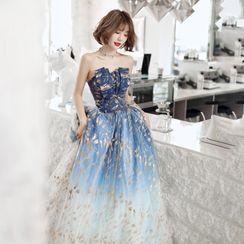 Mackizin - Strapless Floral Print A-Line Mesh Evening Gown