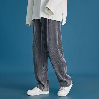 Chuoku - High-Waist Corduroy Straight Cut Pants