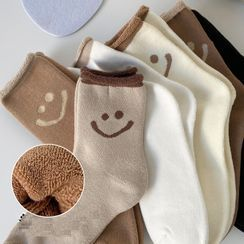 Lychee - Set of 3: Smiley Face Socks