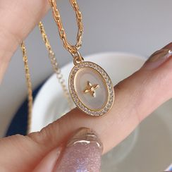 Krishya - 椭圆形水钻贝壳吊坠纯银项链