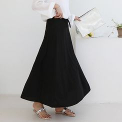 Seoul Fashion - Drawstring-Waist A-Line Maxi Skirt