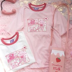 Candy House - 短袖小熊印花T恤