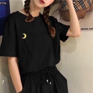 Ukiyo(ウキヨ) - ムーンエンブロイダリー 5分袖Tシャツ
