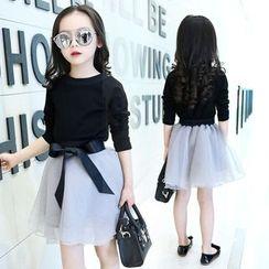 PAM - 小童套裝: 圓領長袖T裇 + 網紗裙