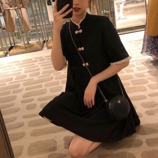 Lumierii - Contrast Trim Mandarin Collar Short-Sleeve Mini A-Line Dress