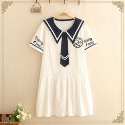 Kawaii Fairyland - Short-Sleeve Sailor Collar Dress