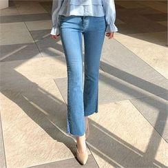 Styleberry - Fray-Hem Boot-Cut Jeans