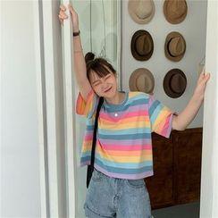 Zhanbara - Short-Sleeve Rainbow Stripe Cropped T-Shirt