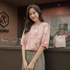CLICK - Elbow-Sleeve Flower-Pattern Knit Top
