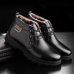 TYCOON(タイクーン) - Faux Leather Fleece-lined Ankle Boots