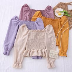 Babique - Wide-Neck Smocked Crop Top in 8 Colors
