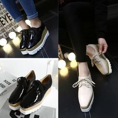 安若 - 人造皮厚底牛津鞋