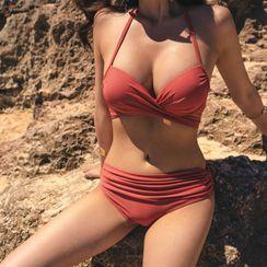 Salanghae - 套装:纯色比基尼泳衣上衣 + 比基尼泳衣下装