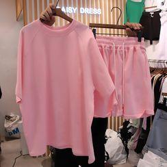 Elle Sun - Set: Elbow-Sleeve Plain T-Shirt + Sweatshorts