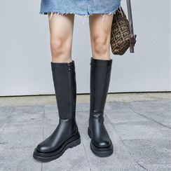 JY Shoes - Plain Platform Tall Boots