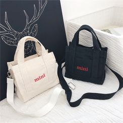 Shimme - Mini Lettering Embroidered Canvas Tote Bag