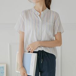 JUSTONE - Mandarin-Collar Stripe Shirt