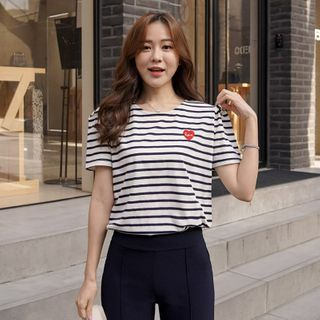 CLICK - Heart-Embroidered Striped T-Shirt