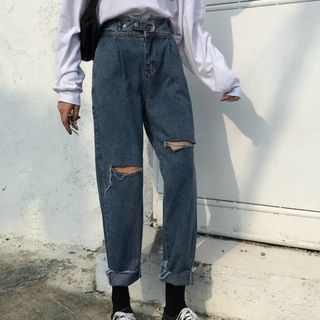 Guajillo - Distressed High-Waist Crop Jeans