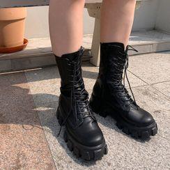 icecream12 - Lace-Up Platform Boots