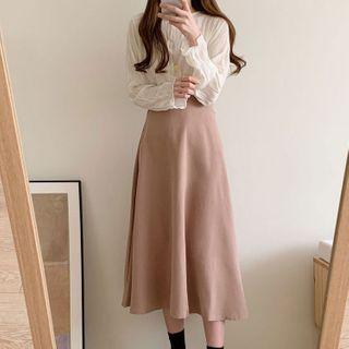 Leoom - Shirred Long-Sleeve Blouse / Plain Midi A-Line Skirt