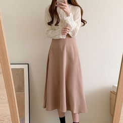 Leoom - Shirred Long-Sleeve Blouse / Plain Midi A-Line Skirt