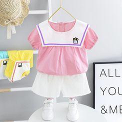 Mini Bae - 小童套裝: 皇冠刺繡短袖襯衫 + 短褲
