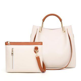 Denyard - Set: Faux Leather Handbag + Zipper Wristlet