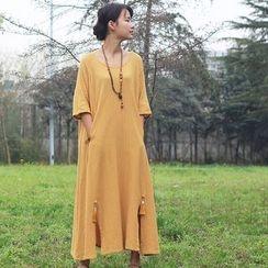 Fabric Sense - 3/4-Sleeve A-line Midi Dress