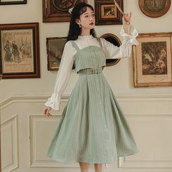 sansweet - Flared-Cuff Ruffled Blouse / Striped Midi Overall Dress / Set