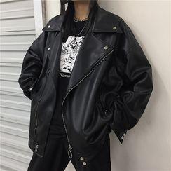 Blackcola - 仿皮拉链外套