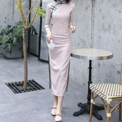 Luxury Style - 3/4-Sleeve Frog Buttoned Qipao Dress