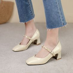 Cinnabelle - Block Heel Faux Pearl Square Toe Mary Jane Pumps