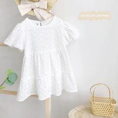 Shaneebabe - Kids Puff-Sleeve Tiered A-Line Dress
