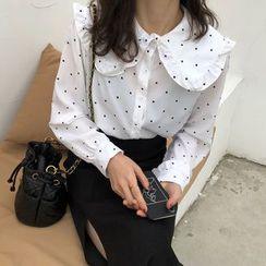 Gecko - Ruffle Trim Dotted Shirt