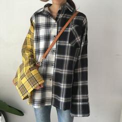 Porstina - Long-Sleeve Check Panel Shirt