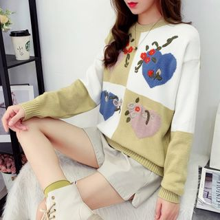 Hibisco - Flower Embroidered Heart Print Sweater