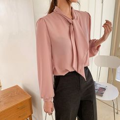 Envy Look - Puff-Sleeve Scarf-Neck Blouse