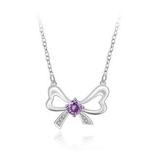 BELEC - Fashion Elegant Hollow Bow Cubic Zirconia Necklace