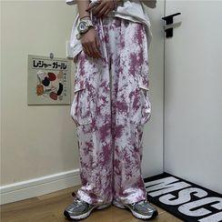 INStudio - High-Waist Tie Dye Cargo Pants