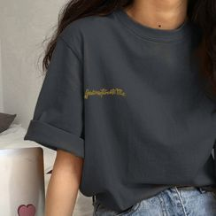 Dream Drop - Short-Sleeve Letter Embroidery T-Shirt