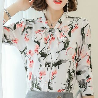 In the Mood - Tie Neck Floral Blouse